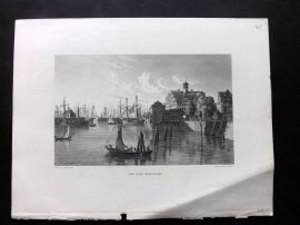 Voyages and Travels 1887 Antique Print. The Port, Hamburgh, Germany after Batty